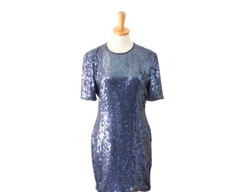 sale // Vintage 80s Blue Iridescent Sequin Silk Evening Dress // Women Medium, Laurence Kazar