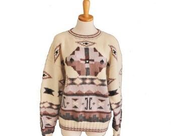 50% off sale // Vintage 80s Geometric Sweater - Aztec - Men L - LL Bean Wool