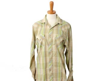 60% off sale // Vintage 70s Lime and Beige Western Pearl Snap Button Shirt // Men Small, retro cowboy