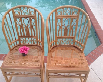 "BAMBOO HIGH BACK Chairs / Pair of Brighton Style Bamboo Chairs Cane Seats / High Back Chairs / 43"" tall / Bohomian Style at Retro Daisy Girl"