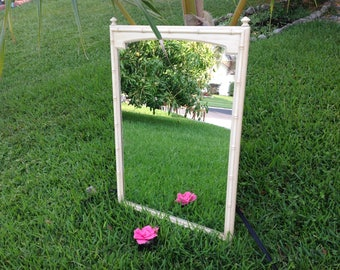 FAUX BAMBOO MIRROR Hollywood Regency Thomasville Allegro Mirror On Sale Palm Beach Style at Retro Daisy Girl