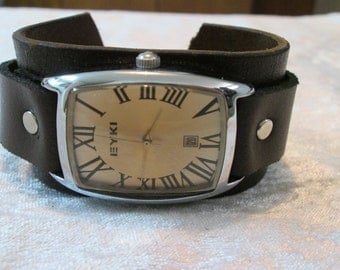Army Military leather cuff Watch, Leather Wrap Watch, Masculine wrist watch, Leather Watch band,  Leather Wrist Watch men, watches for men,