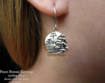 Peace Bonsai Earrings Sterling Silver Hand Carved & Cast Fish Hook or Post with Rising Sun and Japanese Kanji