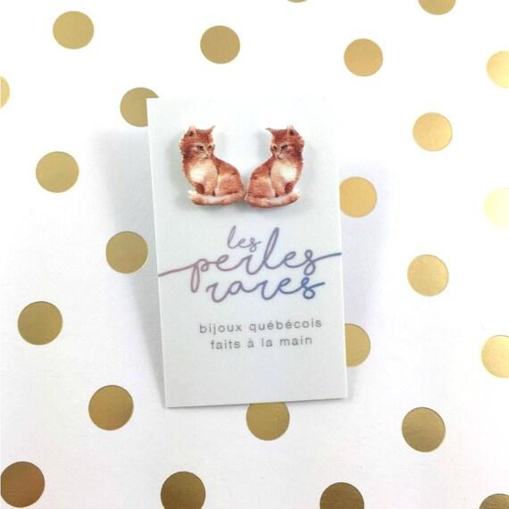 red cute kitty, little cat, orange, cat, earring, catlover,  plastic, stainless stud, handmade, les perles rares