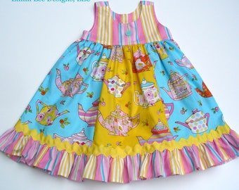 GIrls Tea Party Dress,Girls Dress,Toddler Dress,Little Girl Dress,Teacups,Blue,Yellow,Sizes 12MO,18MO,2T,3T,4T,5T,6,7,8