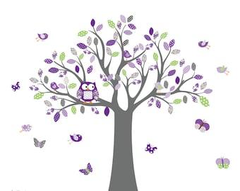 Vinyl Wall Decal Stickers Owl Tree Set Nursery Girls Baby Extra birds and owls