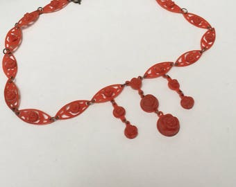 Art Deco Celluloid Carved Coral Flowers Dangle Choker Necklace