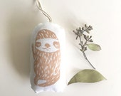 Sloth Ornament. Mini Plush. Hand Stamped.  Made to order.