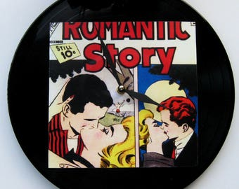 Wall clock. Unique clock.  Romantic comics. Vinyl clock.  Recycled record. Clock for teenager.