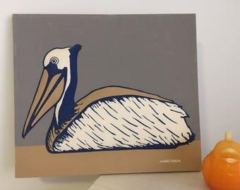 VINTAGE MARUSKA SCREEN Print Pelican, 3 Dimensional,  Mid Century Maruska, Beach Decor, Seaside Decor, Gray, Navy Blue at Modern Logic