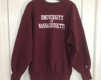 Vintage 1980s UMASS University of Massachusetts Champion Reverse Weave Sweatshirt size XL Burgundy red made in USA