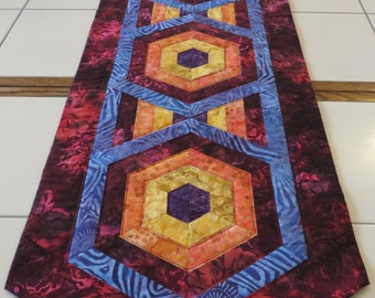 Bright Bold Quilted Batik Table Runner crimson orange purple gold blue