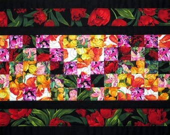 Quilted Spring Floral Table Runner Tulips red yellow pink black