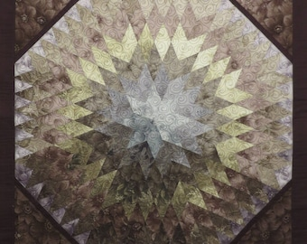 Soft Evening Star Quilted Floral Wall hanging browns ombre