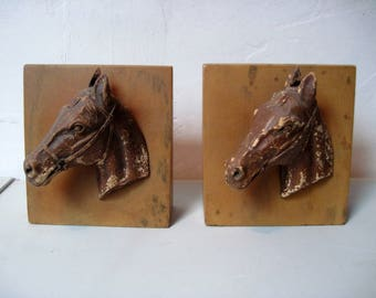 Vintage Mid century wooden Horse Head bookends