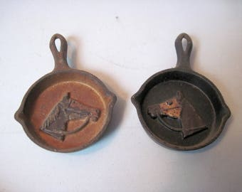 Pair of vintage miniature Cast Iron Pans with racing horses