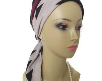 """Aztec Jersey Scarf Turban 14"""" Ties, Volumizer Chemo Headwear, Jersey Knit Cancer Patient Hat, Tichel Mitpachat"""