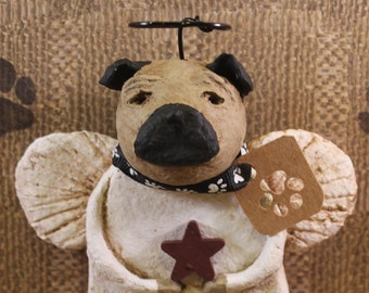 Pug Angel, OOAK, handmade from papier mache, Pug Dog Angel