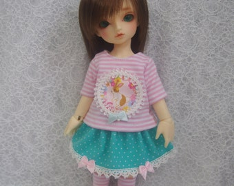 Super Dollfie Yo SD Littlefee Blue Polka Dot Skirt Set - Rabbit