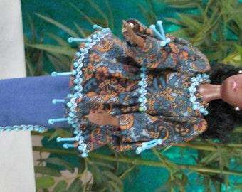 Blue Africian dress for Barbie.