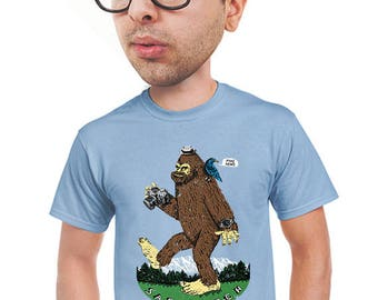 sasquatch t-shirt, fake news, funny, bigfoot t-shirt, geeky, t-shirt for hikers, bigfoot hunters, nature fan, quirky graphic tee,  s-4xl