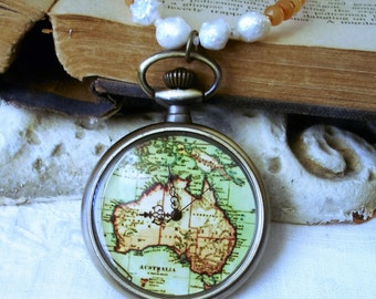 Luxury Down Under Steampunk Pocket Watch Necklace - Vintage Map of Australia C 4-1