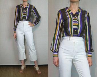 70s Striped Blouse / 1970s Striped Disco Blouse / 70s Rainbow Stripe Blouse / H Bar C California