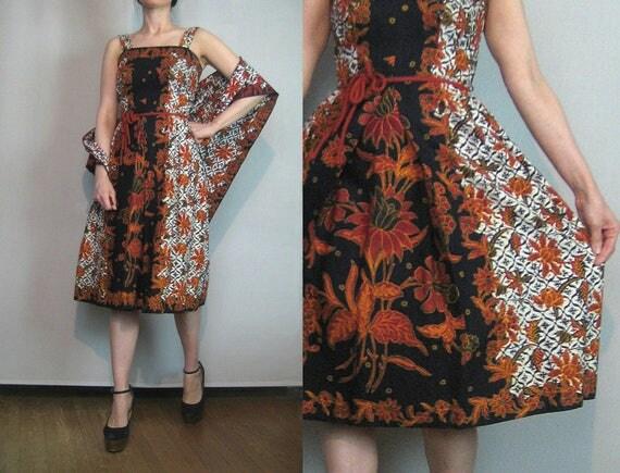 60s 70s BATIK TWO PIECE vtg Sundress Matching Shawl Rope Belt Cotton Black Rust Red Ivory 2 Piece Sun Dress Small s/m 1960s 1970s