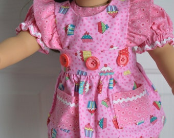18 Inch Doll Clothes Short Sleeve Pink Dress and Cupcake Print Pinafore Apron by SEWSWEETDAISY