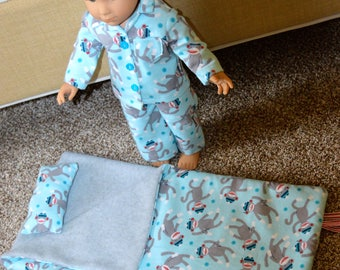 18 Inch Boy Doll Clothes Four Piece Sleep Set Fleece Lined Sleeping Bag, Pillow and Matching Two Piece Pajama Set by SEWSWEETDAISY