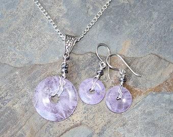 Amethyst Jewelry Set, Natural Stone Jewelry Set, Wire Wrapped Jewelry Set, Purple Jewelry Set, Handmade Jewelry Set, Lavender Jewelry Set