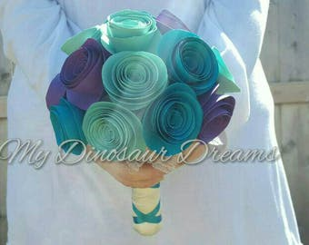 Paper flower bouquet, paper rose, bridesmaid bouquet,  flower girl, toss wedding bouquet, handmade custom flowers in any color