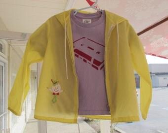 Vintage Kids' Windbreaker Hoodie Yellow Nylon Jacket 1960s - 70s Sears Toddler Jacket Boys' Girls' Size 4
