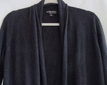 Barefoot Dreams Long Cardigan Sweater w/ Pockets Charcoal Grey Black Bamboo Chic Lite Knit Size Medium Loungewear