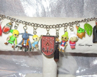 Legend of Zelda Wind Waker Charm Bracelet Custom made Miniature Character Charms by TorresDesigns Ready To Ship