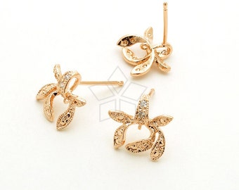 SI-300-RG / 2 Pcs - Tea Leaf CZ Stud Earrings, Rose Gold Plated, with .925 Sterling Silver Post / 11mm x 10mm