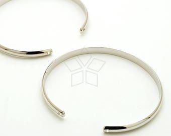 BR-030-OR / 1 Pcs - Band Cuff Bracelet, Sideways Bangle Bracelet Blank, Silver Plated Wire Bangle / 54mm