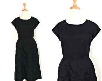 Vintage Little Black Dress -50s dress -  beaded cocktail dress - shift dress - party dress - M L