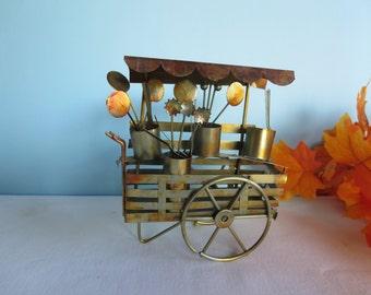 Vintage Metal Art Sculpture - Metal Flower Cart