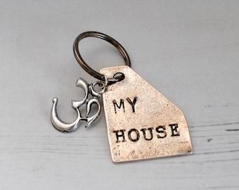 My House Keyring Om Symbol Keychain Yoga Key Ring