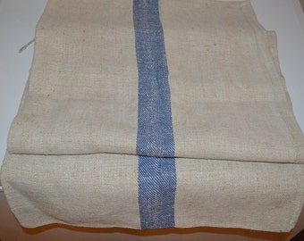 Old linen grain sack - blue stripe vintage feed bag - country general store farmhouse