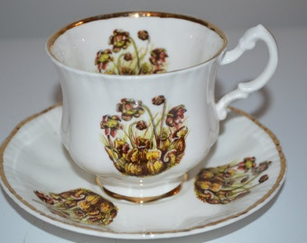 Pitcher Plant tea cup and saucer Made in England - teacup - bone china