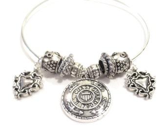 Silver Coast Guard Bangle Bracelet, Silver Medallion, Military Charm Bracelet, Valentine's Day Gift, Bali-style Silver Beads, Fancy Hearts