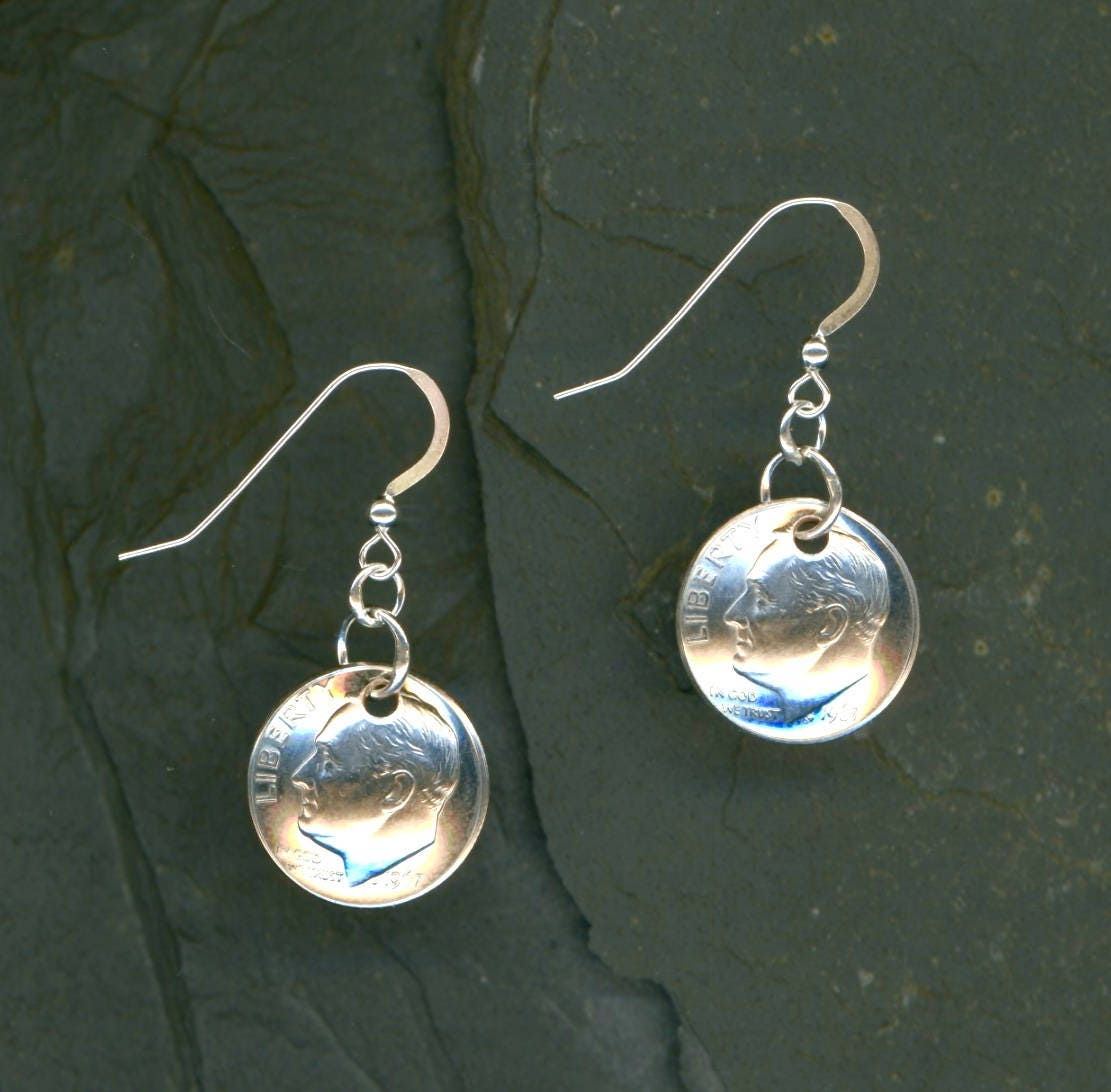 50th Birthday Gift 1967 Dime Earrings 50th Anniversary Gift