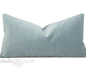 Sky Blue Velvet Pillow Cover - Lumbar - 11x21 - light blue - velvet pillow cover - designer pillow - ready to ship