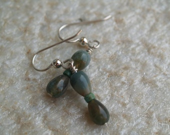 Natural Stone and Turquoise Dangle Earrings