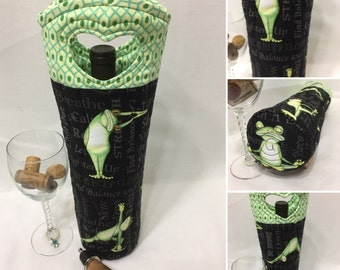 Yoga Frogs Wine Gift Bag Wine Tote Bag Fabric Wine Bag Quilted Wine Tote Hostess Gift Valentine Gift
