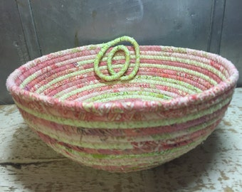 Watermelon Slide - Pink and Green - Scrappy Cotton Pottery - Fabric Coiled Bowl