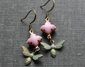 Bee Earrings, Verdigris Patina, Pink Earings. Patina Earrings, Bug Earrings, Bug Jewellery, Green Patina Jewelry, Insect Earrings