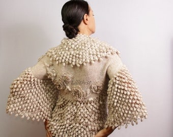 Champagne Shrug Bolero, Bridal Shrug Bolero, Sweater, Wedding Shrug, Crochet Shrug, Bolero Jacket, Crochet Bolero, Knit Shrug, Cape Cardigan